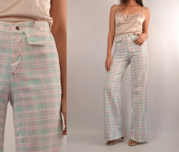 70's Pastel Plaid Wide Leg Flare Trousers by Etsy