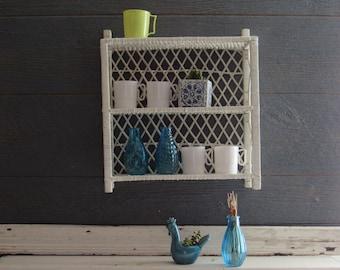 Vintage Wicker shelf – White Rattan Shelf - mid century – Boho décor