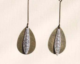 Boho Earrings Silver Earrings Dangle Earrings Drop Earrings Mixed Metal Earrings Jewelry Bohemian Gift for her Gift Ideas