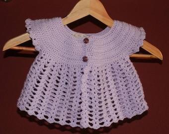 """Butterfly"" lilac crochet vest size 6/9 months"