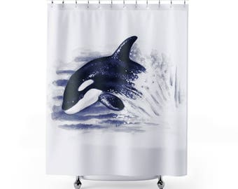 Breaching Baby Orca Whale Watercolor Blue