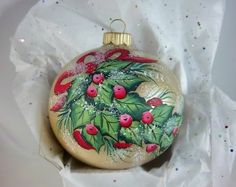 Holly and Berry Ornament, Red, Green on Gold, Festive Holly, Free Inscription, Christmas Favorite, Keepsake Ornament