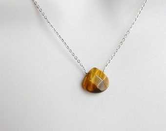 Tiger eye  heart necklace with sterling silver chain,  sterling silver  necklace with tiger eye heart