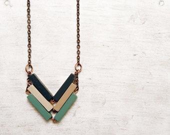 Chevron Necklace // URBAN LEGEND // Minimal Necklace // Blue Beige Mint Hand-Painted Necklace // Modern Necklaces // Chevron Necklace / Wood