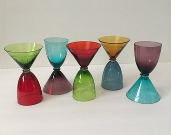 Depression Glass Cocktail Set Wine Glasses and Coupette Glasses Two in One Jewel Toned Etched Rare and Unusual Set of Five