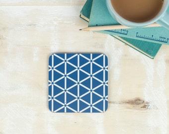 Karin Coaster, bold blue and white design, geometric hexagon pattern, moorish tiling pattern