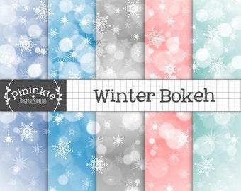 Winter Bokeh Christmas Digital Paper, Snowflake Digital Paper, Blue Bokeh Background, Snowflake Scrapbook Paper, Commercial Use