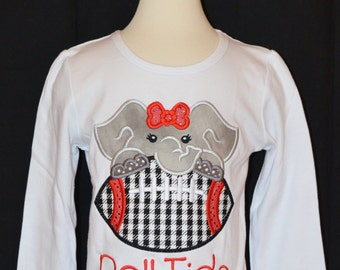 Personalized Football Elephant Face Applique Shirt or bodysuit
