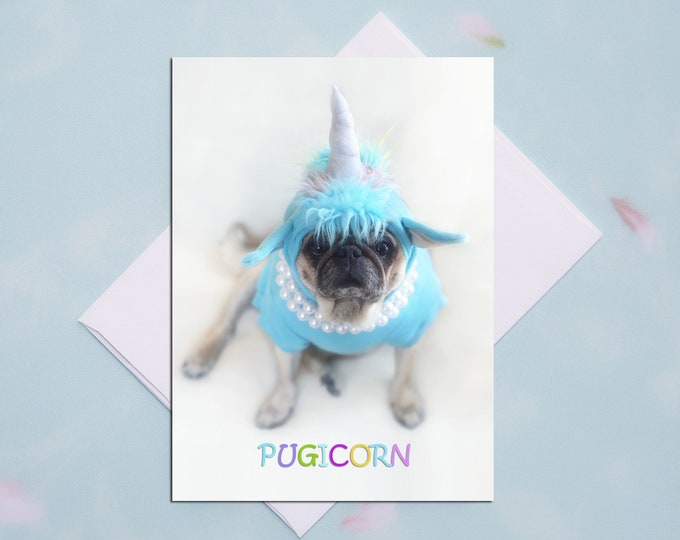 BLANK Card - PUGICORN - All Occasion PUG Greeting Card- Pug Gift - Pugs and Kisses - 5x7
