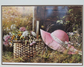 "Adolf Sehring Print ""BONNETS AND WILDFLOWERS"" No 195 of only 1000 Rare"