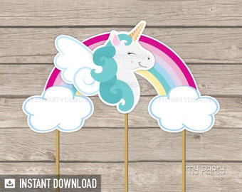 Unicorn Party - Cake Topper - Unicorn Cake Topper - Rainbow Party - INSTANT DOWNLOAD - Printable PDF