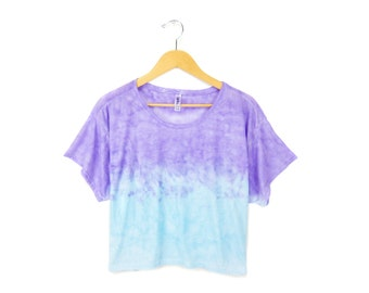 """Sunset Crop Tee - Original """"Splash Dyed"""" Hand Painted Relaxed Fit Flowy Scoop Neck T-shirt in Purple and Blue - Women's Size S M L"""