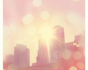 downtown LA photography, Dtla photograph, photo of Los Angeles, LA skyline at sunset, city of lights romantic pink buildings architecture