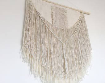 XL weaving, woven tapestry / Egg shell. Handmade, bedhead, wall hanging, bohemian art, minimalist, wall tapestry. Made to order