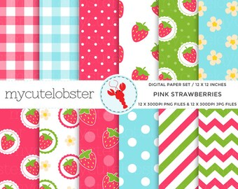 Pink Strawberries Digital Paper Set - strawberry patterned paper pack, polka, gingham - personal use, small commercial use, instant download