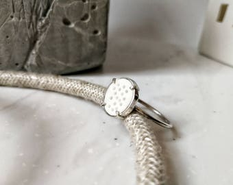 Silver and porcelain ring