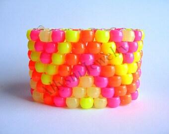 Neon Glow Kandi Cuff, Zig Zag Raver Plur, Glow in the Dark Zigzag Bracelet, Pink, Orange, Yellow