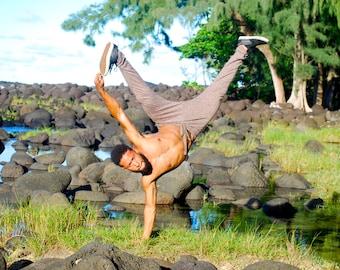 Men's Joggers - Mocha Brown Organic Cotton Hemp Yoga Pants - Drop Crotch - Unisex Harem Pants - Dance