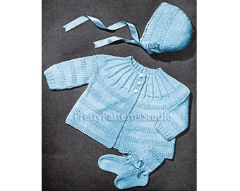 PDF Baby Sacque, Bootees and Cap Set Vintage Knitting Pattern 1946 - INSTANT DOWNLOAD. Digitally Restored