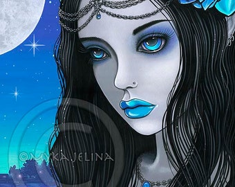 Gothic Fairy Blue Moon Lotus Flower Nalin Limited Edition Canvas ACEO