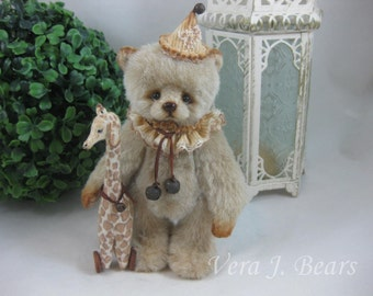 "SOLD  5.5 "" Miniature Artist Bear with Giraffe toy Handmade by Vera J.Bears"