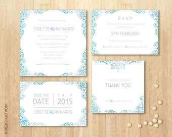 Wedding Invitation Set, Turquoise Invitation Set, Classic Invitation Set, Printable DIY Invitation set, RSVP, Save The Date, Thank You Card