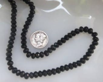 Black Onyx Faceted Rondelle Beads 4 x 6mm Half Strand
