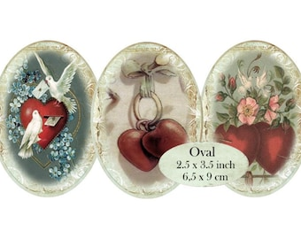 Oval 3.5 x 2.5 inch Vintage Valentines Instant Download digital collage sheet O135 heart valentine