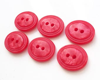 hot pink marbled oval new stock buttons with stacked appearance--matching lot of 6