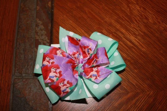 Disney Bow, Ariel Bow, Handmade Bow, Disney Handmade Bow, Princess Bow, Toddler Bow , Girls Bow