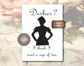 Dishes Sign Black White Victorian Woman Silhouette Printable 8X10 Digital Kitchen Dining Decor Steampunk Victorian Wall Art Tea Towel Supply