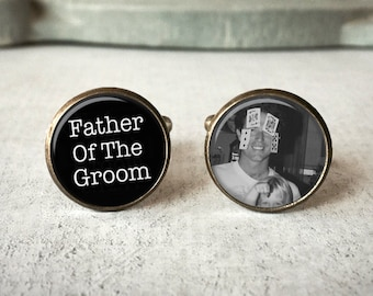 Father Of The Groom Cufflinks, Personalized Cufflinks, Custom Picture Cufflinks, Custom Cufflinks, Gift for Dad, Personalised Cuff Links