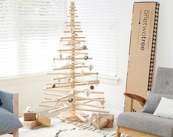 Large One Two Tree Wooden Christmas Tree sustainably made in Australian with Hoop pine plywood