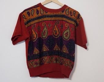 Vintage Orange Paisley Pattern Shirt