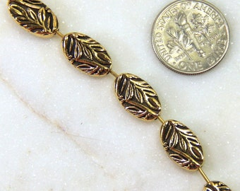 TierraCast Beads, Botanical Beads, Oval Beads, Jewelry Findings, Antique Gold Plated Lead Free Pewter, 4 Pieces, 2826