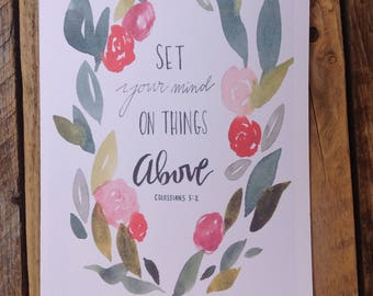 Printed Watercolor Card SET Your Mind On THINGS ABOVE Colossians 3:2 Bible Scripture Gift Card Words of Encouragement