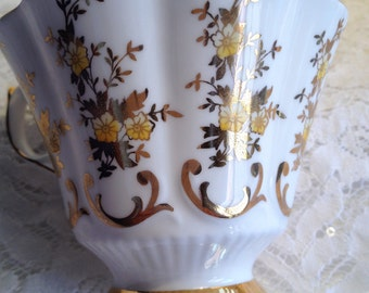 Replacement Tea Cup, Queen Anne Bone China Tea Cup, Made in England, Beautifully shaped, Translucent Tea Cup with Gold and Yellow Floral.