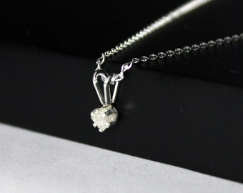 3mm White Rough Diamond Pendant Necklace in Sterling Silver - Natural Stone, Raw, Uncut - April Birthstone
