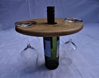 Oak Wine Bottle/Glass Holder.