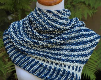 Blue and White Striped Asymmetrical Shawlette or Scarf