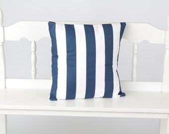 Nautical Navy stripe pillow cover