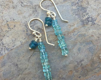 Apatite Earrings with Sterling Silver, dangle earrings, elegant apatite earrings, 1.5 inches long.