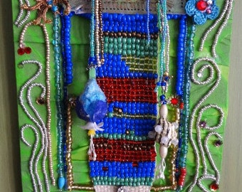 NEW LOWER PRICE  MardiGras& the Spider  faux stained glass dangling flowers beadloomed Hot colors