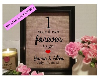 FRAMED 1 year wedding anniversary gift, 1st wedding anniversary, Wedding gift, Anniversary gift, one year down, 1 year down forever to go