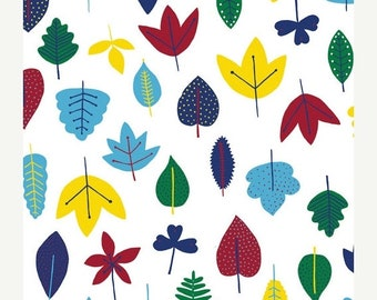 SALE Today Organic Leaves Fat Quarter Fabric Bright Fall Leaves on White by Cloud9 Fabrics - Steffie Broccoli