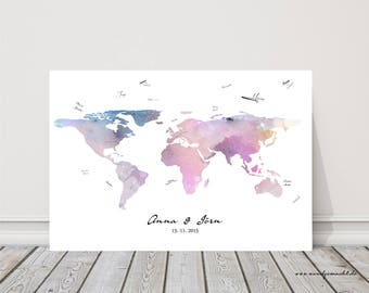 "Wedding Tree fingerprint tree guestbook Wedding Confirmation ""world map"" on canvas"