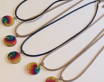 Destashing! 5 Hand Painted Tie Dyed Disc Necklaces