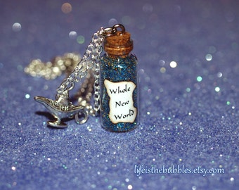Aladdin and Jasmine Whole New World Magical Necklace with a Genie Lamp Charm, Disney Bound, Disney Cosplay,  by Life is the Bubbles