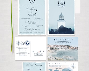 Costa Brava Spain Destination Wedding Invitation Set Blue MediterraneanNautical Lighthouse Illustrated wedding invitation - Deposit Payment
