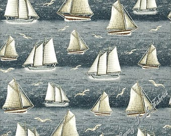 "Quilting Treasures ""Seaside"" 24654-W Sailboats Seagulls Ocean Nautical Fabric (Select Size)"
